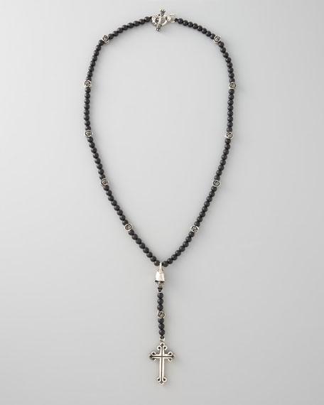 Medium Onyx Bead Rosary Necklace