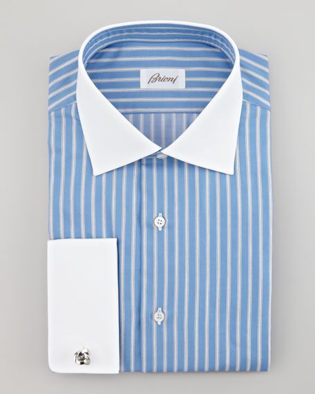Contrast-Cuff Striped Dress Shirt