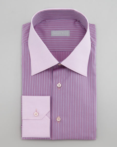 Striped French-Cuff Dress Shirt, Pink
