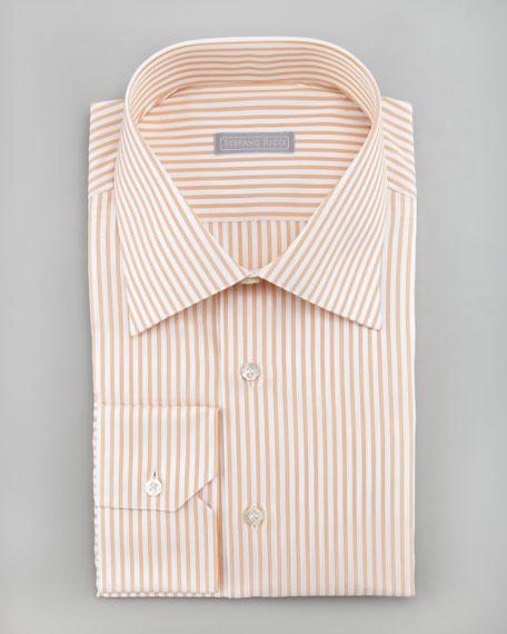 Woven Stripe Dress Shirt, Orange