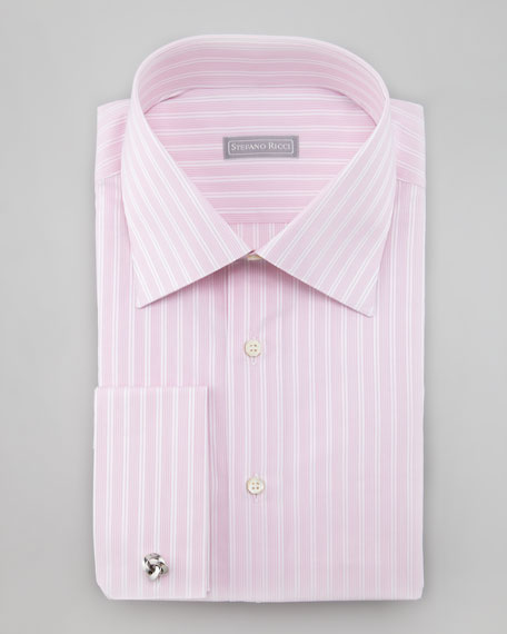 Mixed Stripe French-Cuff Shirt, Pink