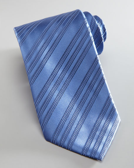 Diagonal Stripe Silk Tie, Blue