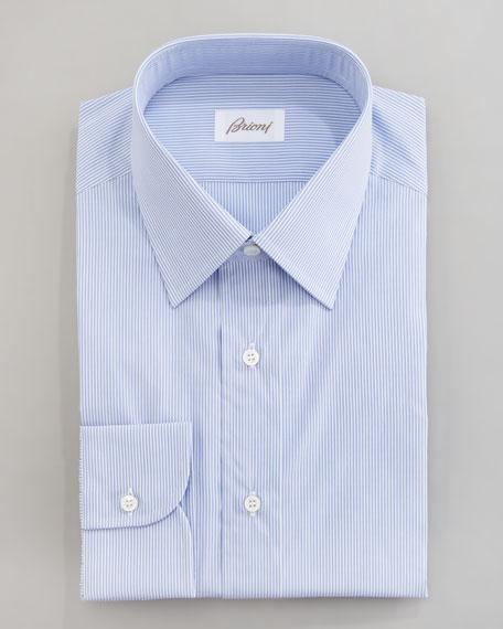 Mini-Stripe Dress Shirt, Blue
