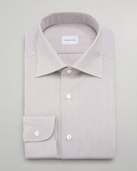 Micro-Check Dress Shirt, Tan