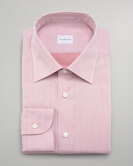 Washed Herringbone Dress Shirt