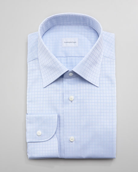 Tonal-Check Dress Shirt, Blue