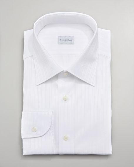 Texture-Stripe Dress Shirt, White