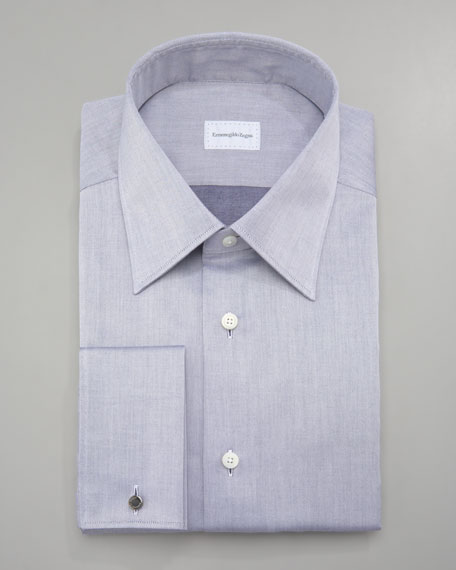 Twill Dress Shirt, Dark Blue
