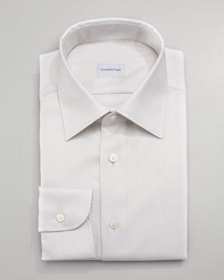 Twill Dress Shirt, Beige