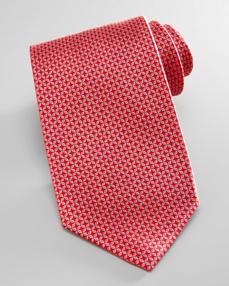 Floral-Neat Silk Tie, Red