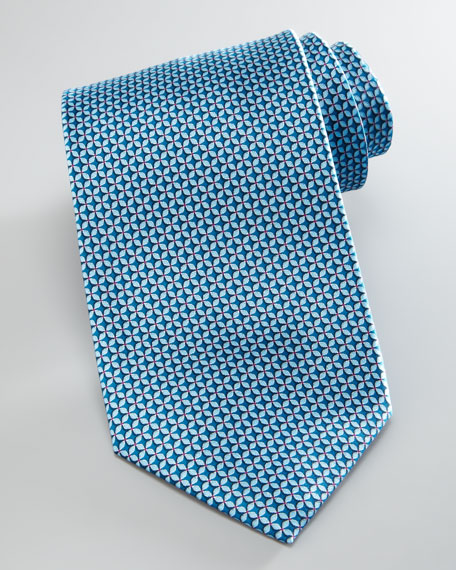 Floral-Neat Silk Tie, Aqua