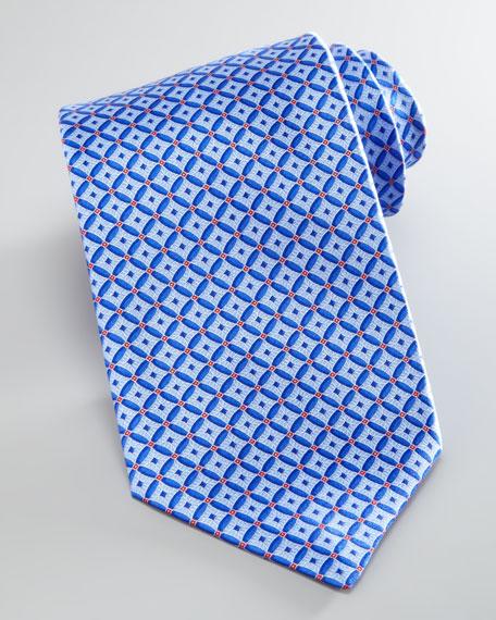 Diamond-Neat Silk Tie, Blue