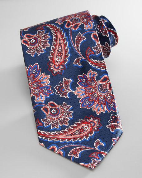 Scarf-Print Silk Tie, Navy
