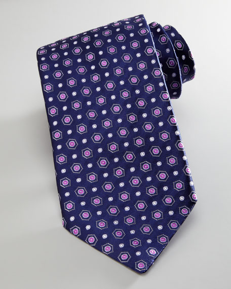 Hexagon-Neat Silk Tie, Purple