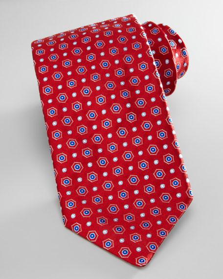 Hexagon-Neat Silk Tie, Red