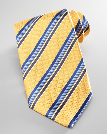 Textured Striped Tie, Yellow