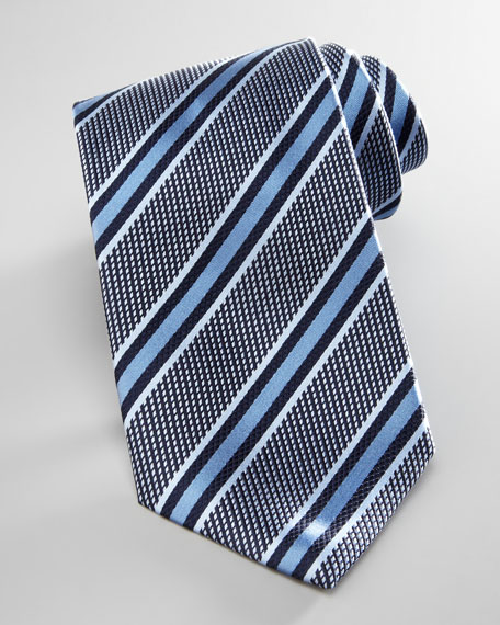 Textured Striped Tie, Green