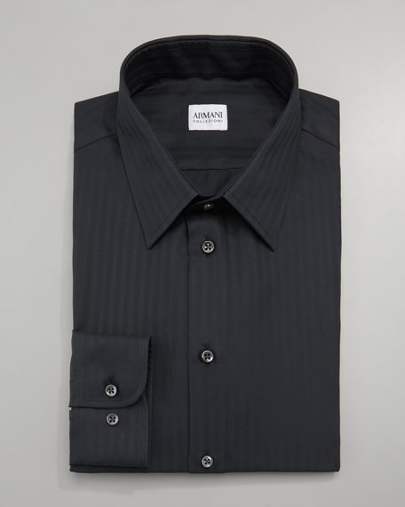 Tonal-Stripe Dress Shirt, Black