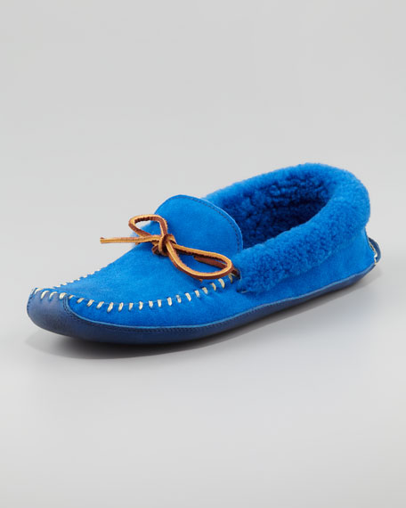 Shearling-Lined Suede Slipper, Blue