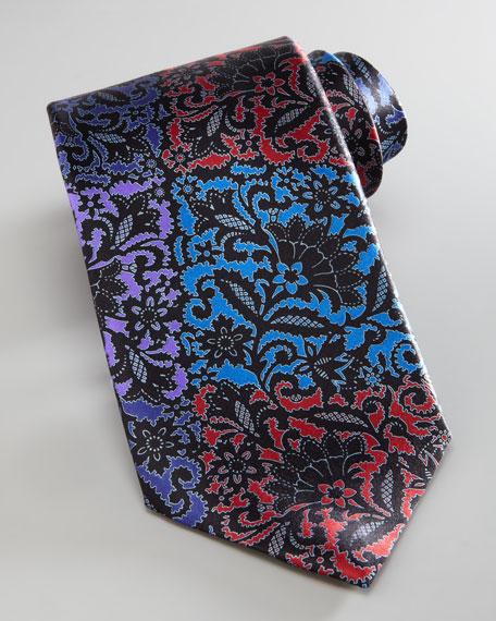 Floral Patchwork Silk Tie, Black