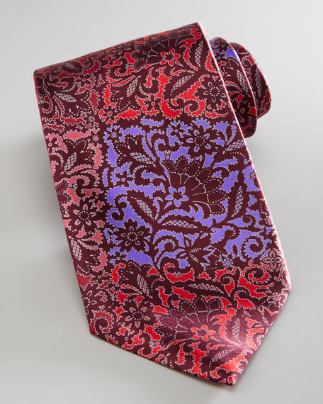 Floral Patchwork Silk Tie, Red