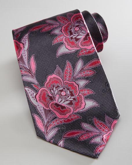 Large Woven Flower Tie, Black