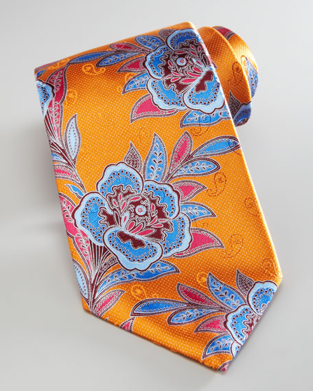 Large Flower Silk Tie, Orange