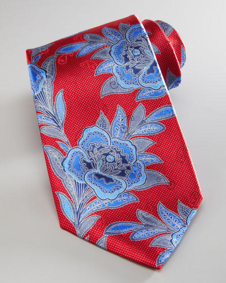 Large Woven Flower Tie, Red