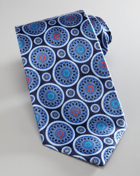 Circle Medallions Tie, Navy