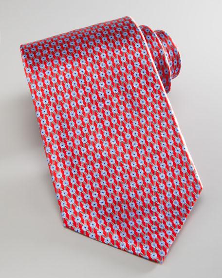 Neat Diamond Lattice Tie, Red