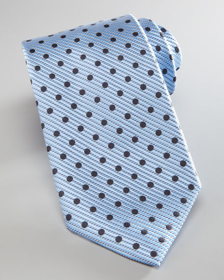 Diagonal Polka Dot Tie, Light Blue