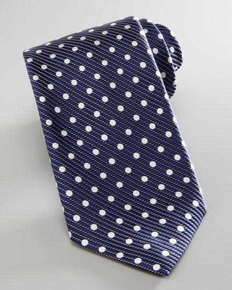 Diagonal Polka Dot Tie, Blue