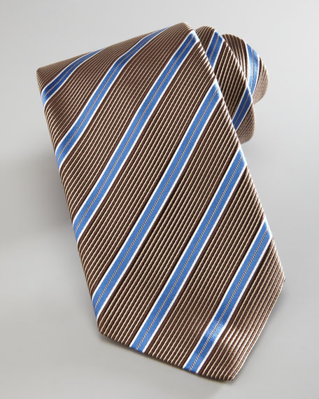 Textured Satin Stripe Tie, Brown