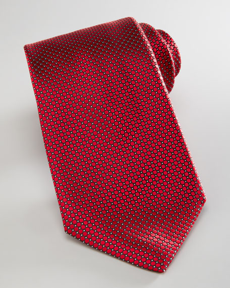 Woven Circles Tie, Red
