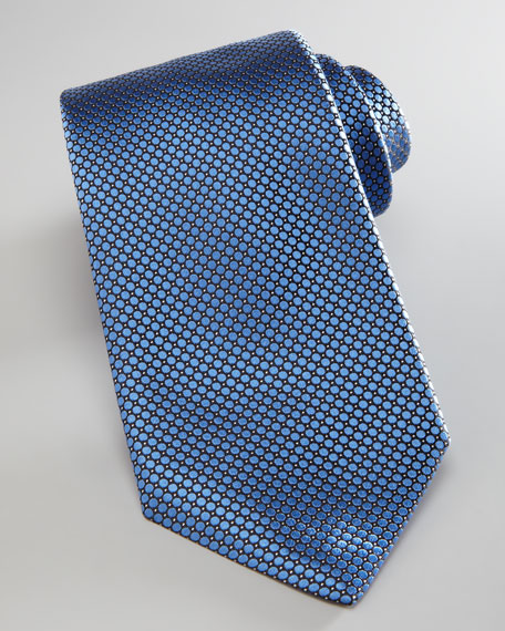 Wide Circles Textured Tie, Light Blue