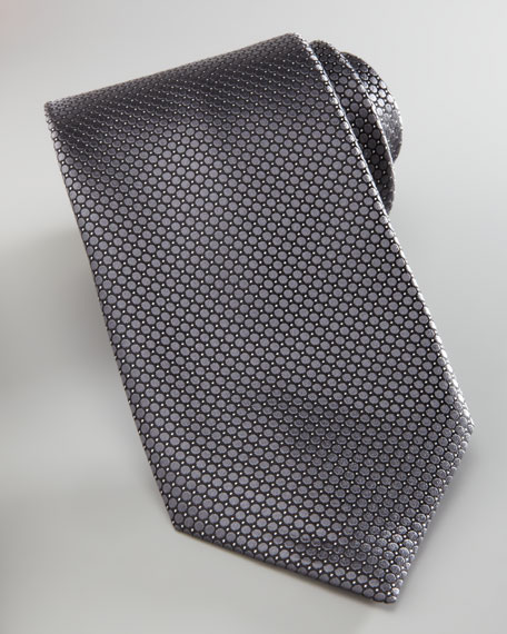 Woven Circles Tie, Charcoal