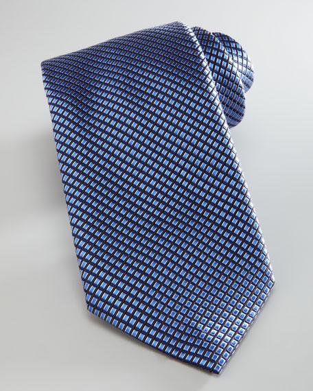 Textured Grid Silk Tie, Light Blue