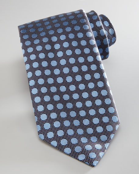 Dotted Silk Tie, Light Blue