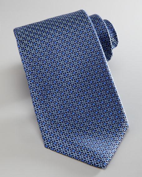 Woven Interlocking Square Tie, Blue