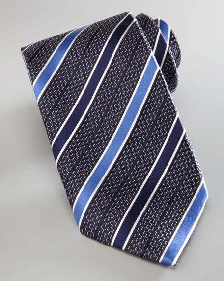 Striped Basketweave Tie, Navy