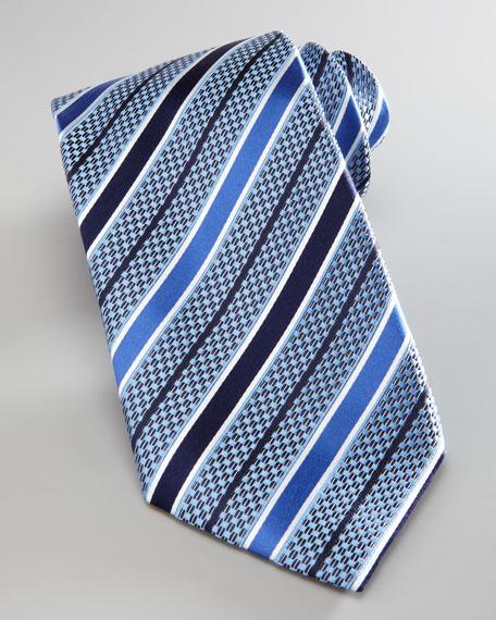 Stripe Basketwoven Silk Tie, Light Blue