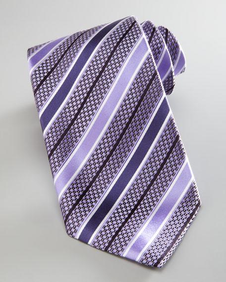 Striped Basketweave Tie, Lavender