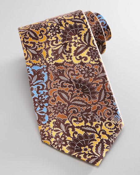 Patchwork Floral Silk Tie, Yellow