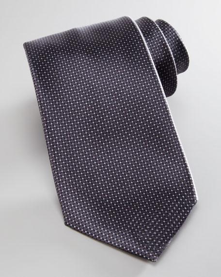Micro-Neat Silk Tie, Charcoal
