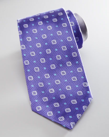 Basket-Weave-Neat Silk Tie, Lavender