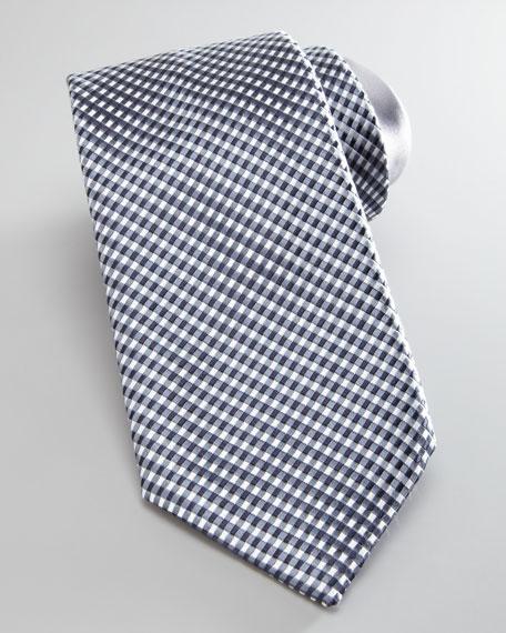 Micro-Check Silk Tie, Gray