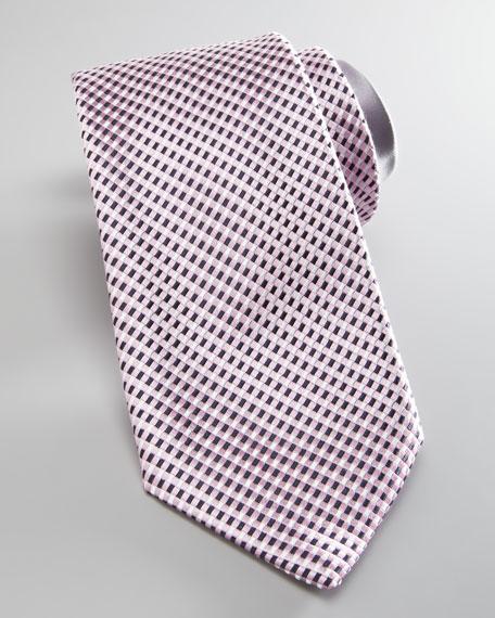 Micro-Check Silk Tie, Pink