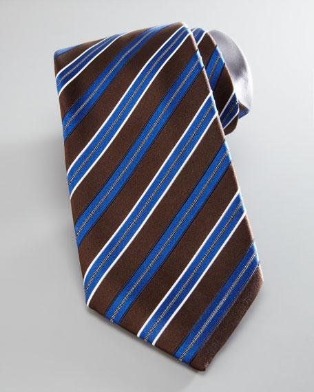 Raised-Stripe Silk Tie, Brown