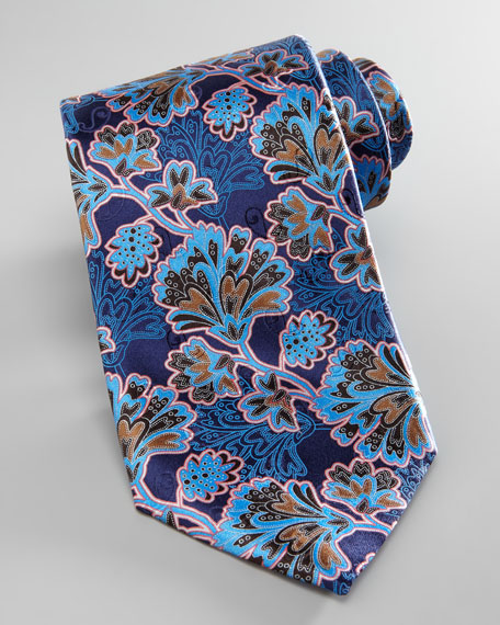 Leafy-Floral Silk Tie, Navy