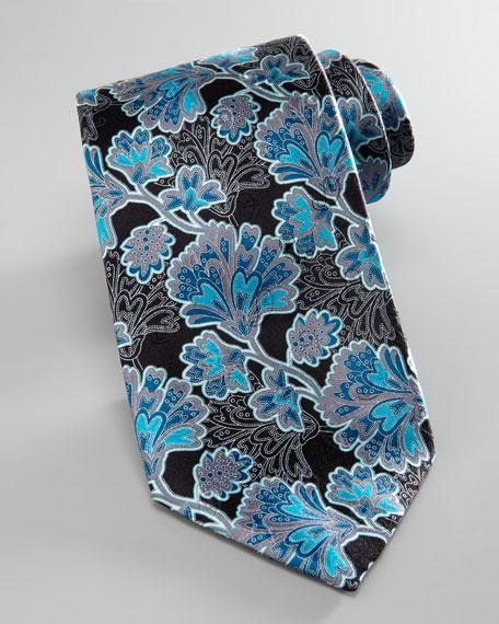 Leafy-Floral Silk Tie, Black